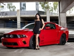 Dark Haired Woman and Ford Vortech Mustang GT