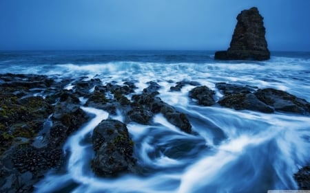 Rocky Ocean Waves - Sea, Oceans, Waves, Rocks, Nature