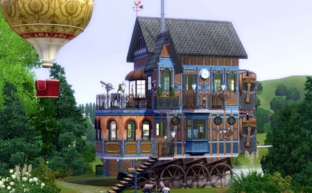 Steampunk Cabin - house, balloon, painting, stairs, artwork, wheels
