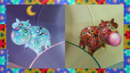 Night Cow, Day Cow - border, catt1e, cow, bubble, frame, bubblegum, framed, border1ine, moon, bubbles, cows