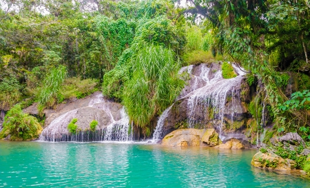 Beautiful waterfalls - El Nicho, amazing, foam, beautiful, trees, waterfalls, cascades, nice, cool, water, plants, Cuba, awesome, nature