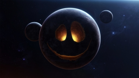 Moon Smiles - planets, stars, Firefox Persona theme, moon, face, space
