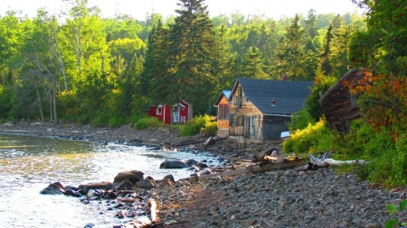 Lakeside Houses - forest, rocks, houses, nature, cabin, trees, lake