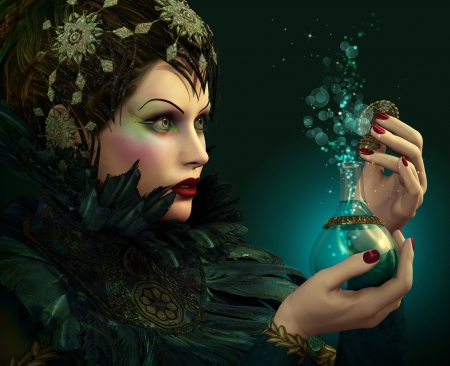 Beauty - perfume, frumusete, luminos, bottle, woman, fantasy, girl, green, feather, hand