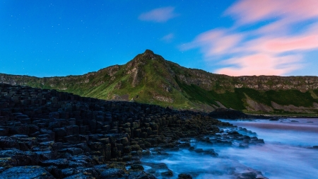 Twilight Rocky Shore - Sky, Oceans, Sunsets, Nature, Sea, Mountains, Beaches, Twilight, Rocks
