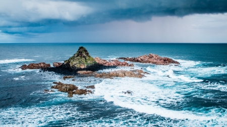 Ocean Surf and Sea Stones - Sky, Oceans, Stones, Nature, Sea, Surf, Clouds, Waves, Rocks