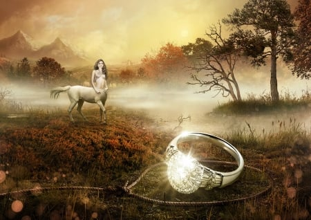 Centaur - art, luminos, rope, horse, diamond, radoxist, fantasy, girl, jewel, ring, centaur