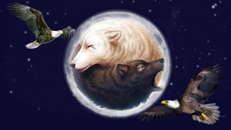 Spirits of the Northwest - stars, eagles, birds, yin ynag, sky, spiritual, full moon, Native American, wolves, Firefox Persona theme