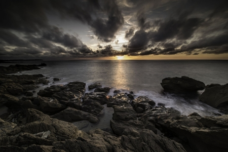 Cloudy Seascape at Sunset - Sea, Nature, Rocks, Oceans, Sunsets, Clouds, Sky