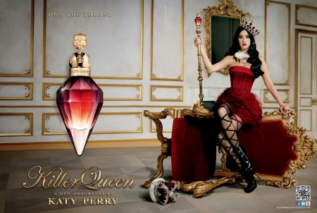 Katy Perry - perfume, red, dress, bottle, Katy Perry, killer queen, fragrance, woman, singer, add, girl, commercial, chair
