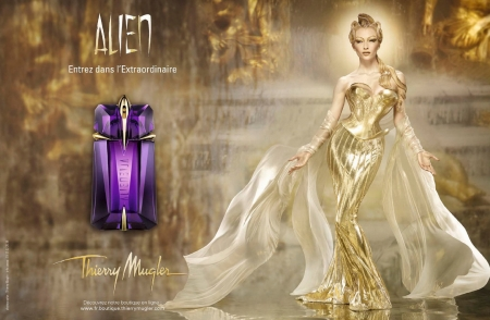 Alien - perfume, model, bottle, golden, thierry mugler, add, girl, purple, commercial, alien