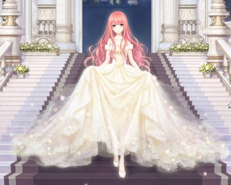 Ball Room - pretty, dress, divine, brown, adore, ballroom, carpet, elegant, sweet, staircase, nice, stair, gold, anime, anime girl, long hair, gorgeous, female, lovely, gown, amour, heels, cute, kawaii, girl, stairway, lady, pink hair, white, scene, maiden