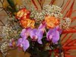 Orange Roses With Orchids
