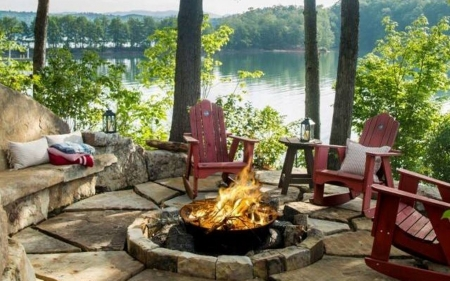 Terrace by the Lake - fireplace, chairs, lake, terrace