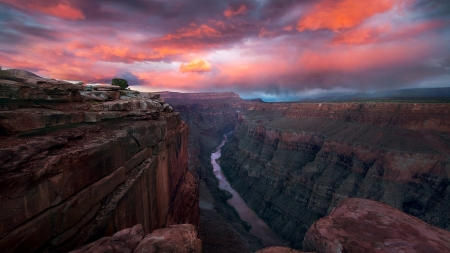 Grand Canyon Twilight - Mountains, Canyons, Sky, Clouds, Twilight, Rivers, Sunsets, Nature