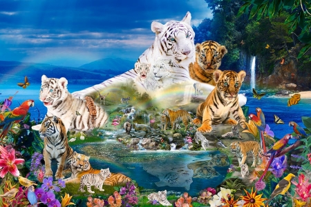 Dreaming of Tigers - painting, flowers, cubs, butterflies, white, artwork