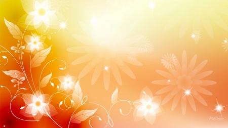 Summer Sunshine - vector, flowers, sunshine, floral, light, blossoms, Firefox Persona theme, blooms, bright
