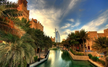 View of Dubai - architecture, modern, world, city, monuments, canal, streetscape
