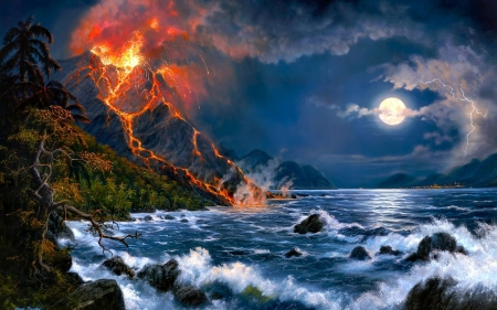 Moonlight - art, luna, luminos, lava, volcano, sea, fire, moon, water, painting, summer, pictura
