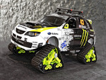 ken block's subaru rally car on snow tracks