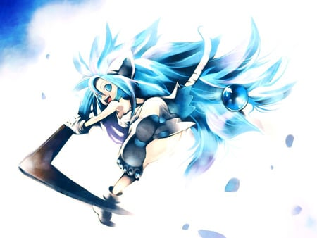 Wild Spirit - white tiger, blue hair, anime, boomerang, animal