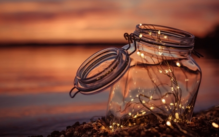 Light bulb - garland, Light bulb, sunset, bank