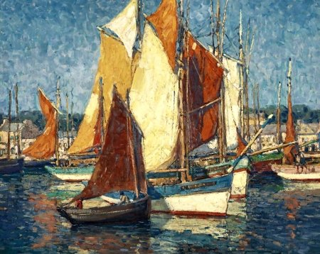 Brittany Harbor F - art, beautiful, illustration, artwork, painting, wide screen, seascape, scenery, sailboats, harbor, landscape