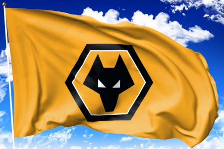 Wolves FC Flag - wolverhampton wanderers, the wolves, gold and black, football, english, soccer, fc, socer, flag pole, wolves, wwfc, england, flag
