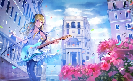 After the Rain - pretty, house, sweet, nice, anime, beauty, anime girl, lovely, blonde, sky, waii, smiling, happy, building, cute, water, guitar, landscape, maiden, red, scenic, hd, dress, blond, headphones, home, beautiful, instruments, blue, female, cloud, blonde hair, smile, blond hair, kawaii, girl, flower, petals, scene