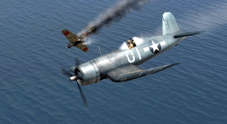 Splash One Zeke - F4U Corsair, Warbird, Corsair, F4U