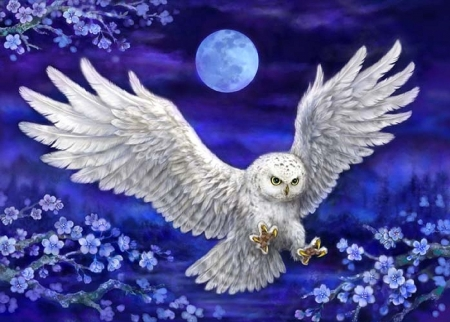 The Night Owl - moon, painting, flowers, blossoms, white, artwork