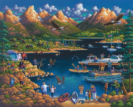 Grand Teton National Park - boats, mountains, people, painting, river, artwork