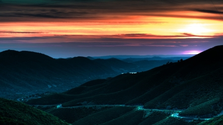 Mountain Lights - scenic, valley, lights, drive, mist, sky, Firefox Persona theme, sunset, fog, mountains, road