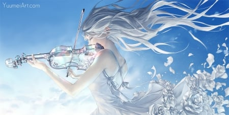 In This Moment - pretty, dress, hd, divine, breeze, beautiful, silver, floral, sweet, instrument, nice, anime, beauty, anime girl, long hair, blue, female, lovely, gown, maide, peace, flora, guitar, girl, windy, flower, petals, white, maiden