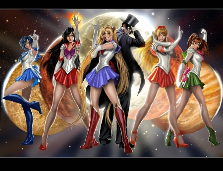 Sailor Moon - tuxedo mask, jupiter, luna, manga, mars, mercury, venus, all, girl, anime, sailor moon, realistic