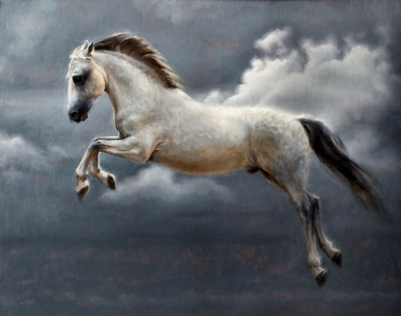 Cheval Celeste - art, Marina Dieul, illustration, animal, Dieul, equine, wide screen, beautiful, horse, artwork, painting