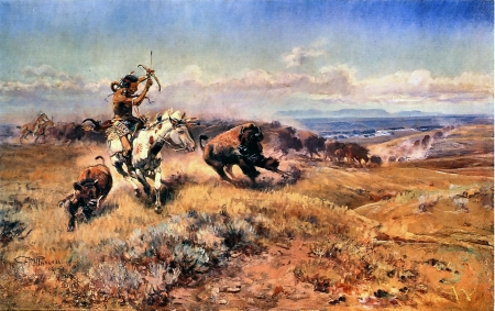 Horse of the Hunter - art, buffalo, equine, beautiful, horse, illustration, artwork, Charles Russell, painting, wide screen, Native American, Russell, landscape