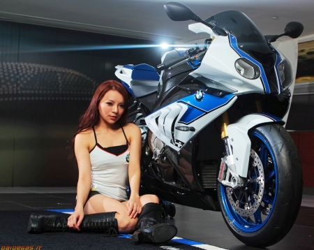 bmw s1000rr hp4 - girl, motorcycle, asian, bmw