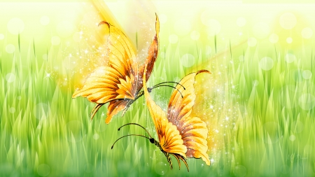 Dance of the Golden Butterflies - spring, dance, grass, stars, butterflies, Firefox Persona theme, green, flutter, sparkle, summer, nature