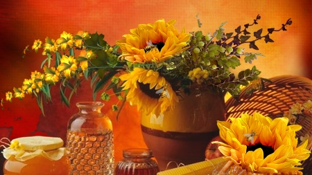 Sunflowers and Honey - bees, fall, harvest, flowers, sunflowers, honey, autumn, basket, Firefox Persona theme, summer