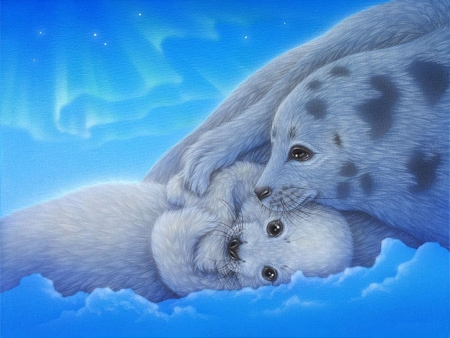 Seals - ice, sea, digital, animals, artwork, aurora borealis