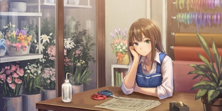 Flower Shop - beauty, desk, lovely, sweet, maiden, hd, pretty, shop, female, beautiful, cute, scenic, store, long hair, anime girl, table, nice, brown hair, flower, anime, scene, lady, girl