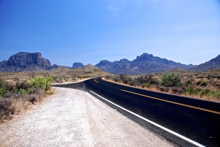 Texas Desert Road Landscape - Mountains, Landscapes, Deserts, Roads, Nature