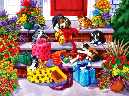 Time for Toys and Treats - Pets F - cats, art, illustration, animal, dogs, pets, canine, gifts, wide screen, feline, beautiful, artwork, toys, painting