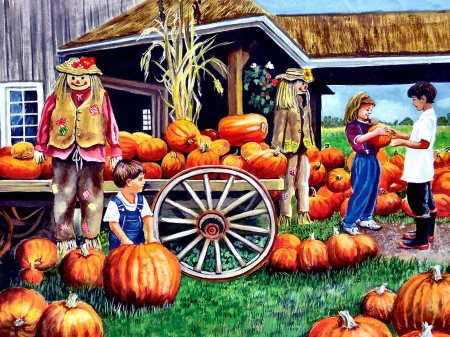 Mom, This is the One F - art, illustration, people, pumpkins, autumn, wide screen, beautiful, artwork, painting