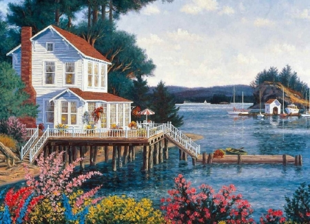 house on the lake - painting, house, abstract, lake