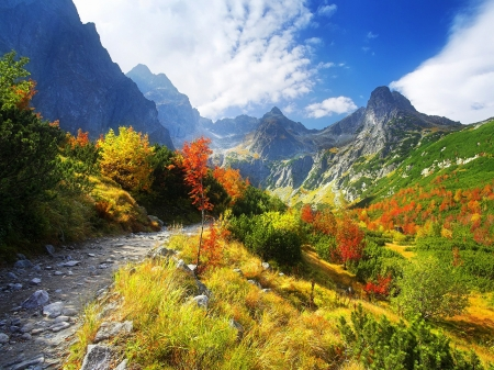 Mountain Path - path, sky, clouds, mountains, trees, nature, autumn