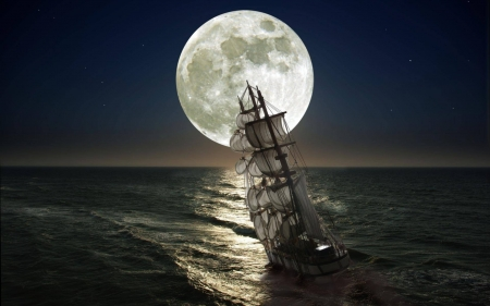 under a full moon - ocean, fun, boat, cool, full moon, space