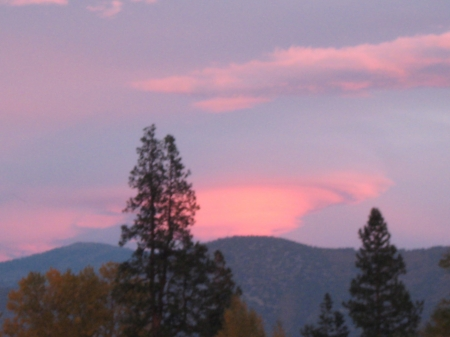 pink nimbus - weird, cloud, mountains, sunset, trees, sky, pink