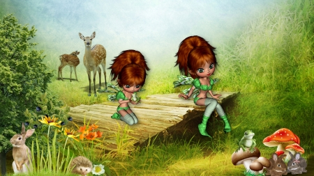 Fairies and Frogs - frogs, fae, wild life, deer, fantasy, fairies, rabbits, field, Firefox Persona theme